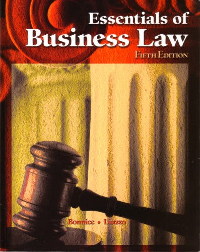 Essentials Of Business Law 5th by Anthony Liuzzo 0078305055