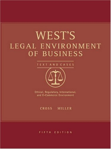 West's Legal Environment of Business 5th by Cross 0324154658