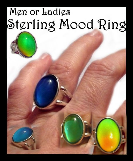Fantastic Men Ladies Quality Sterling Silver Mood Ring