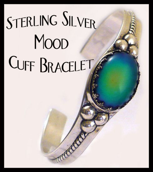 Unusual Color Changing Sterling Silver Mood Ring Cuff Bracelet