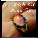 Color Changing Sterling Silver Mood Ring Unusual Prong Design