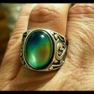 Unusual Man or Ladies Sterling Silver Mood Ring Vivid Color Changes Classy Scroll