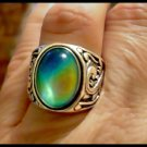 Men or Ladies Sterling Mood Ring Color Changing Mood Stone