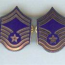 US Air Force USAF Senior Master Sergeant Chevron Metal Rank Insignia Pair
