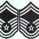 US Air Force USAF Senior Master Sergeant Color Embroidered Rank Patch Chevron Pair