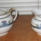 Noritake 1921 Daventry Covered Sugar Bowl & Creamer Blue Flowers Scrolls
