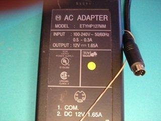Used, very good Hewlett-Packard AC adapter, model ETYHP127MM, 12VDC, $12.00 delivered
