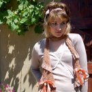 Fabulous hand dyed ditsy trim fabric knitted scarf