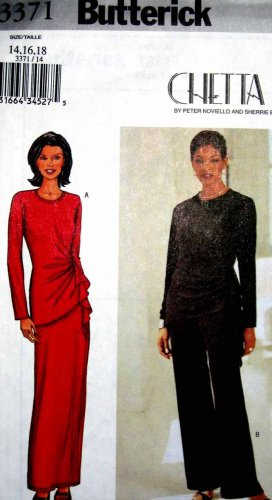 B3371 New Sewing Pattern Miss Asymmetrical Formal Evening Top Gather Long Skirt Pant 14 16 18