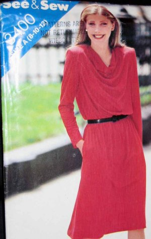 B3400 New Sewing Pattern Misses' Dress Dramatic Cowl Draped Neckline for Soft Knits Size 8 10 12