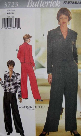 B3723 New Sewing Pattern Misses' Suit Jacket Back Pleat & Button Detail Palazzo Pants Size 6 8 10