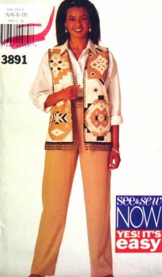 B3891 New Sewing Pattern Misses' Outfit with Elastic Waist Pants & Vest Size 6 8 10
