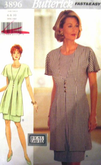 B3896 New Sewing Pattern Miss Draped Tucked Flutter Sleeve Suit Jacket Sheath Dress Size 6 8 10