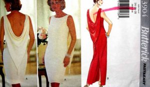 B3904 New Sewing Pattern Misses' Dramatic Draped Formal Evening Cocktail Dress Size 14 16 18