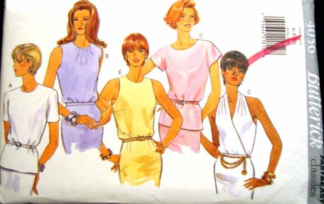 B4056 New Sewing Pattern Variations Sleeveless Blouse Extend Shoulder Shirt Halter Top Sz 6 8 10