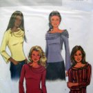 B4230 New Sewing Pattern Miss or Juniors' Knit Bell Sleeve Tops Draped Collar Variations size XS S M