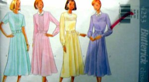 B4253 New Sewing Pattern Misses Tucked & Pleated Dress Flared Skirt Size 6 8 10