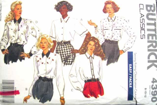 B4390 New Sewing Pattern Misses' Creative Ladies' Blouse Decorative Trim Options Size 8 10 12