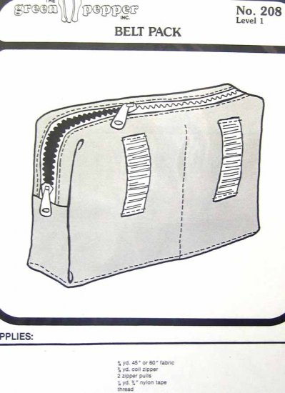GP208 New Sewing Pattern Green Pepper Belt Pack Purse Bag Tote Caddy Carry All Easy Project