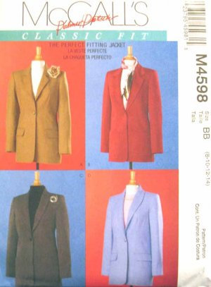 M4598 New Sewing Pattern Misses' Classic Tailored Jacket Fitting Instructions Size 8 10 12 14