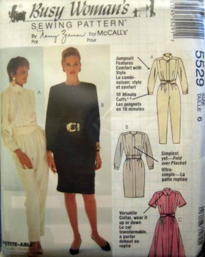 M5529 New Sewing Pattern Misses' Basic Classic Style Dress Straight Flared Skirt Jumpsuit Size 6