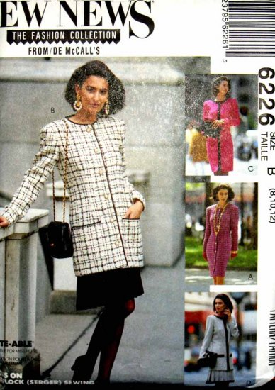 M6226 New Sewing Pattern Misses' Coat Dress Jacket Skirt Classic for Career or Work Size 8 10 12