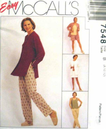 M7548 New Sewing Pattern Misses' Casual Wardrobe Jacket Tank Skirt Pant Short Size 8 10 12