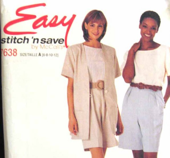 M7638 New Sewing Pattern Misses' Casual Easy Fast Top Jacket Shorts size 6 8 10 12