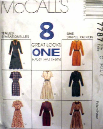 M7787 New Sewing Pattern Misses' Variations Dress Straight or Flared Skirt Size 10 12 14