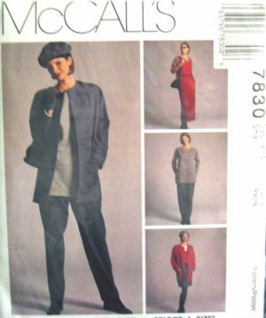 M7830 New Sewing Pattern Misses' Casual Wardrobe Jacket Top Tunic Dress Pants Skirt size 8 10