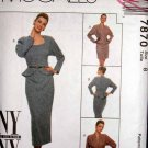 M7870 New Sewing Pattern Misses' Dolman High Fashion Peplum Fitted Jacket Slim Skirt Size 8