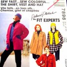 M7896 New Sewing Pattern Misses' Casual Easy Fast Shirt Vest Hat Fleece size 8 10