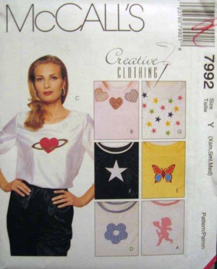 M7992 New Sewing Pattern Misses' Creative Craft Shirt Appliques Quilt Decorative Design Size XS S M