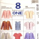 M8155 New Sewing Pattern Misses' Twin Set Cardigan Jacket Long, Short, Sleeveless Top  Size 8 10