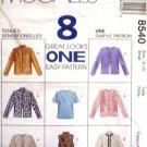 M8540 New Sewing Pattern Misses' Cardigan Jacket Mock Turtleneck Top Twin Set Size 8 10
