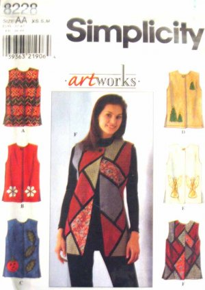 S8228 New Sewing Pattern Creative Artworks Holiday Christmas Patchwork Applique Vest  XS S M