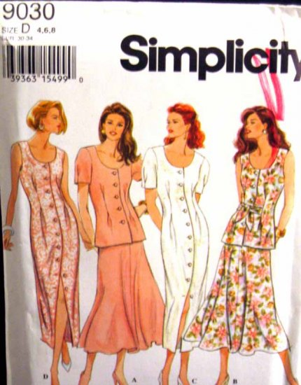 S9030 New Sewing Pattern Misses' Tuck Front Optional Tie Dress Skirt Top Size XS 4 6 8