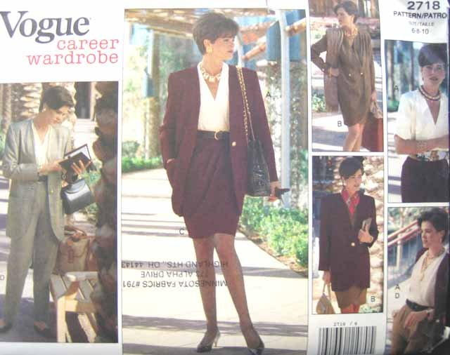 V2718 New Sewing Pattern Misses Career Wardrobe SarongWrap Skirt Jacket Pants Wrap Top 6 8 10