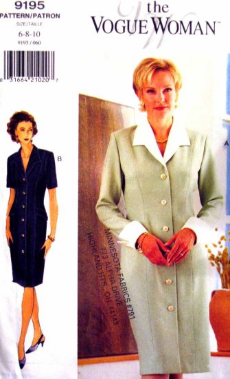 V9195 New Sewing Pattern Misses Vogue Coat Dress Contrast Collar & Cuffs Size  6 8 10