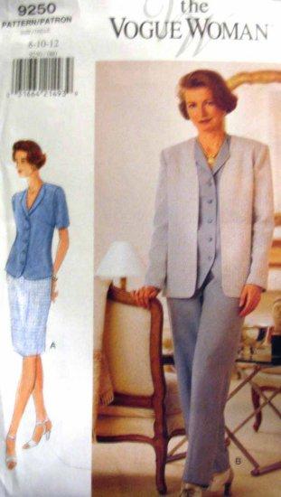 V9250 New Sewing Pattern Misses' Vogue Wardrobe Jacket Weskit Skirt Pant Size  8 10 12