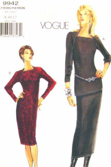 V9942 New Sewing Pattern Misses' Vogue Dress Tunic Skirt Raglan Size 8 10 12