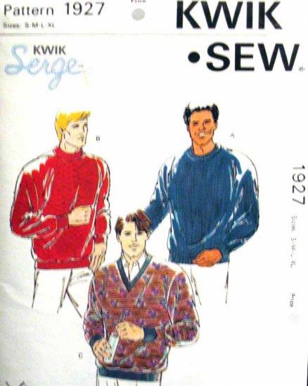 K1927 New Sewing Pattern Men's Knit Sweater Shirt Size S M L XL