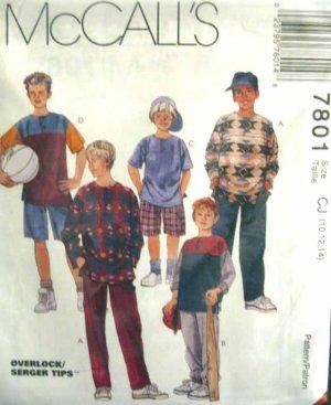 M7801 New Sewing Pattern Child Boy Teen Shirt Pants Shorts Play Sports Casual Size 10 12 14