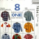 M7834 New Sewing Pattern Misses' Unisex Men Teen Classic Shirt Chest Size 42-44