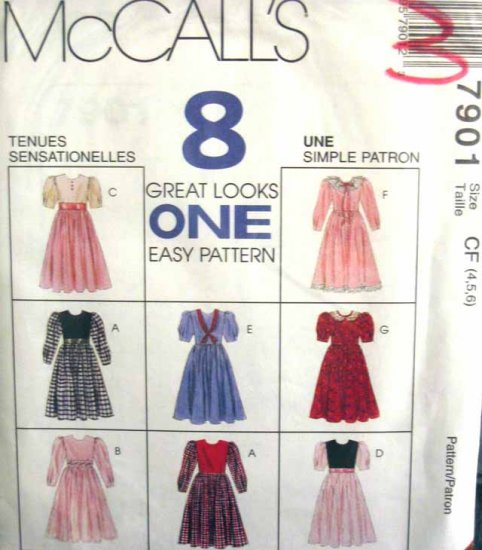 M7901 New Sewing Pattern Child Girl Dress Vary Options size 2 3 4