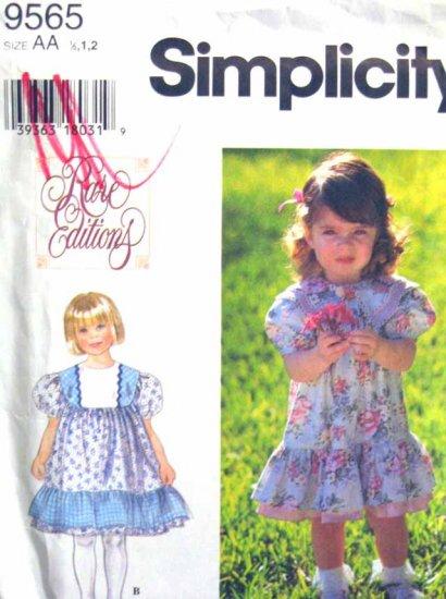 S9565 New Sewing Pattern Kid Girl Dress Ruffle Size 1/2, 1, 2