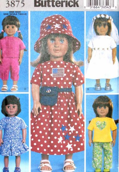 """B3875 New Sewing Pattern for 18"""" Dolls Clothes such as Baby Dolls or American Girl Outfits for Play"""
