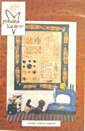 PH2003 New Sewing Pattern Embroidery+A51 Buttons Heart Sewing Theme Wall Hanging