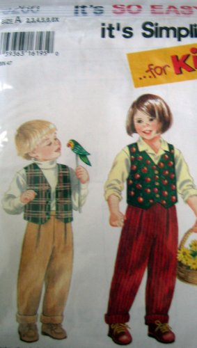 S9266 Sewing Pattern Child 2 3 4 5 6 6x Unisex Elastic Waist Pant and Vest