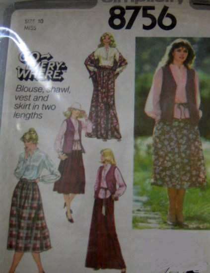 S8756 Sewing Pattern Top Vest Skirt Shawl Knit Woven sz XS S M L XL Casual Weekend Outfit